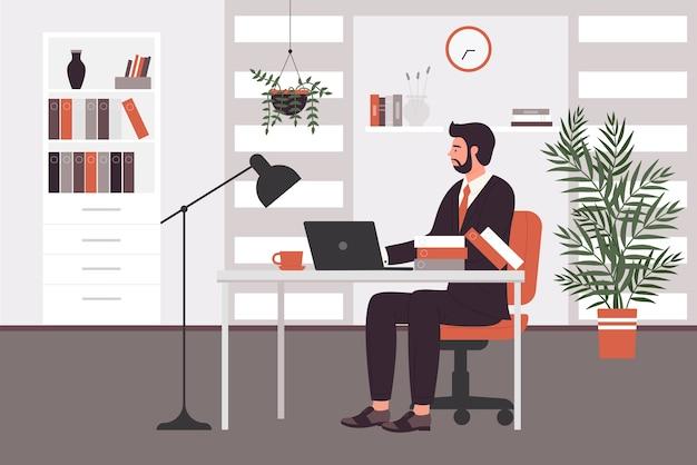 Illustration de travail d'homme d'affaires.