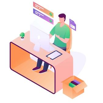 Illustration de travail homme bureau isometrick