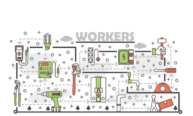 Illustration de travailleurs art vecteur fine ligne