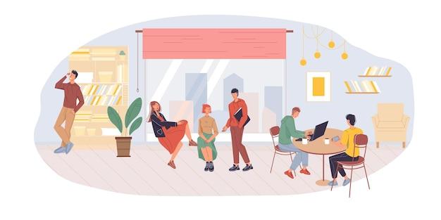 Illustration de travailleurs de bureau de personnages de dessin animé plat