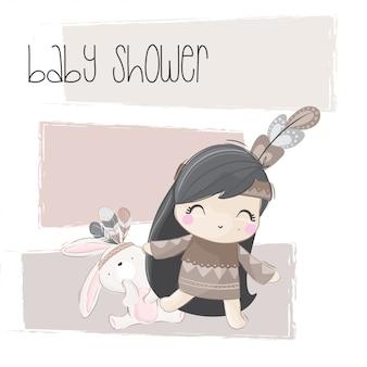 Illustration tribale mignonne petite fille