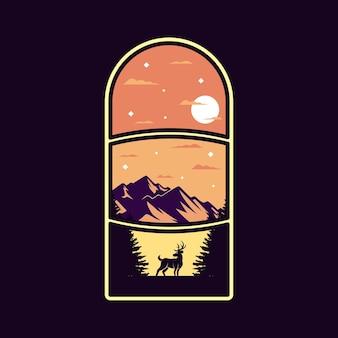 Illustration de triples fenêtres de paysage pour la conception d'un badge ou d'un t-shirt à l'extérieur