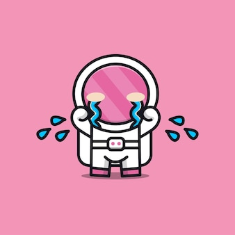 Illustration triste astronaute mignon