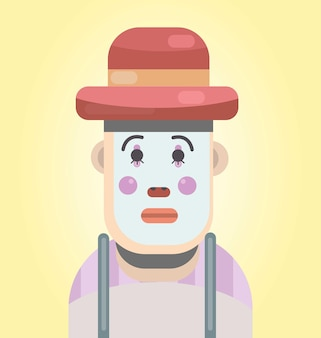 Illustration d'un triste mime design plat triste mime