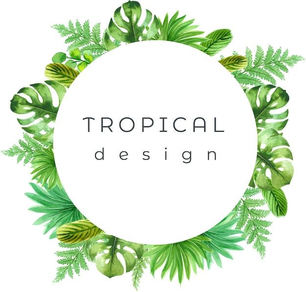 Illustration tropicale aquarelle, peinte à la main
