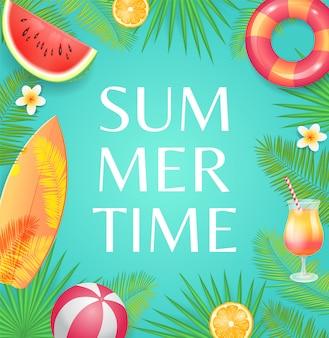 Illustration tropicale de l'heure d'été