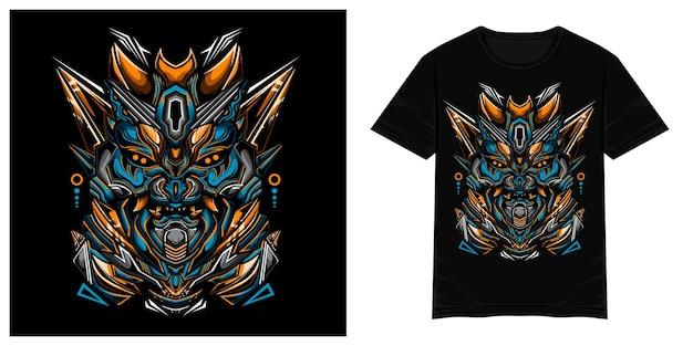 Illustration de tshirt vecteur bleu monstre oni samouraï