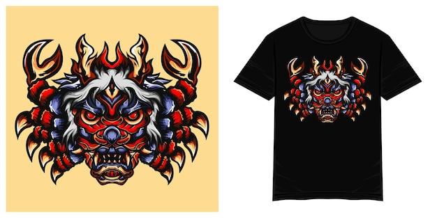 Illustration de tshirt vecteur crabe rouge oni monstre