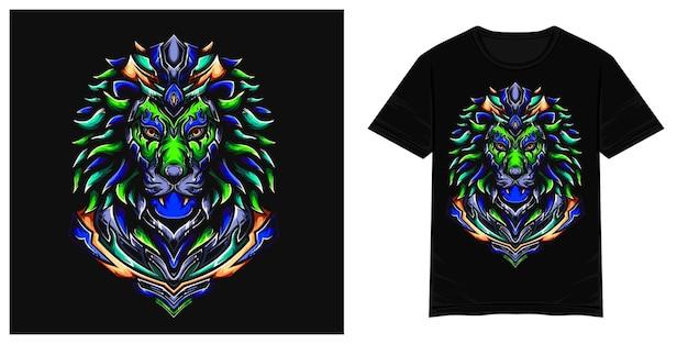 Illustration de tshirt vecteur lion coloré