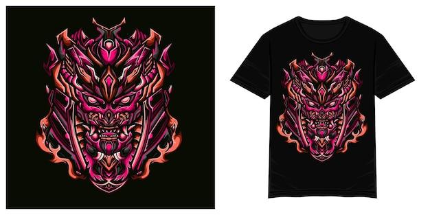 Illustration de tshirt vecteur monstre samouraï impitoyable
