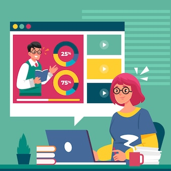 Illustration de tutoriels en ligne design plat