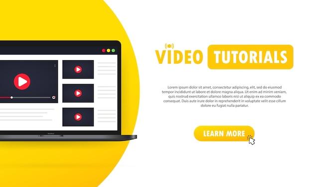 Illustration de tutoriels vidéo. regarder un webinaire, diffuser des vidéos en ligne sur un ordinateur portable. vecteur sur fond isolé. eps 10.