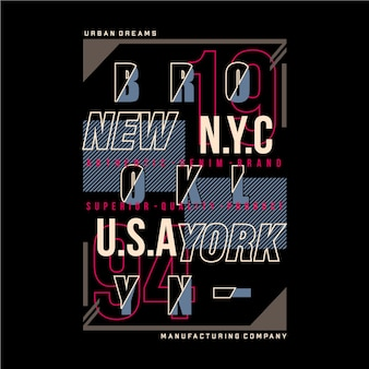 Illustration de typographie graphique de brooklyn new york city pour t-shirt imprimé