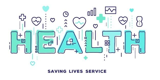 Illustration de la typographie de mot vert santé avec icônes de ligne et nuage de tags soins de santé