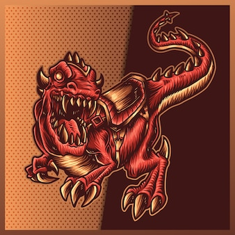 Illustration de tyrannosaurus rex en colère avec une énorme bouche ouverte sur le fond blanc. illustration dessinée à la main pour le logo du sport mascotte