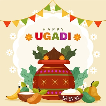 Illustration ugadi design plat