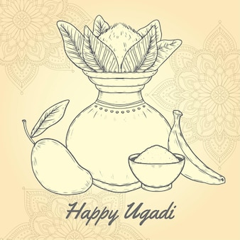 Illustration d'ugadi dessinée à la main