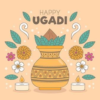 Illustration D'ugadi Dessinée à La Main Vecteur gratuit