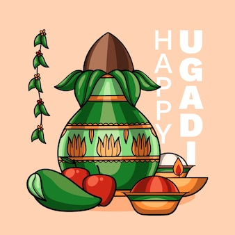 Illustration d'ugadi heureux dessiné à la main