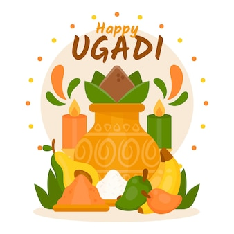 Illustration ugadi plate