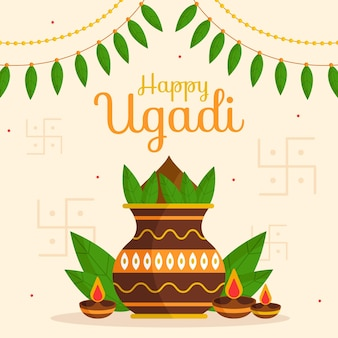 Illustration Ugadi Plate Vecteur gratuit