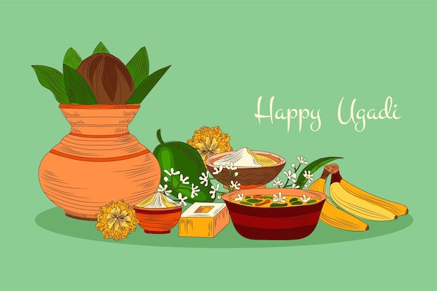 Illustration ugadi réaliste dessinée à la main