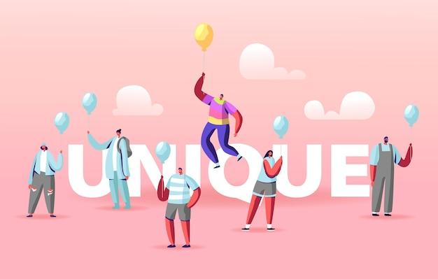 Illustration unique avec des personnes tenant des ballons