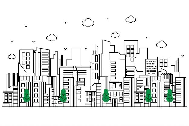 Illustration urbaine avec de grands immeubles dans le style des lignes fines