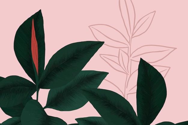 Illustration de l'usine de caoutchouc de vecteur de fond tropical