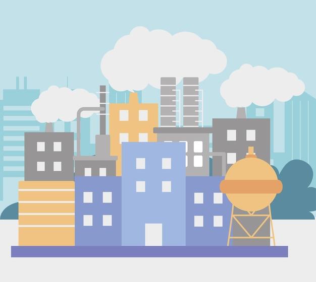 Illustration de l'usine de raffinerie de pétrole