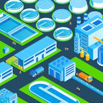 Illustration de l'usine de traitement d'eau isométrique