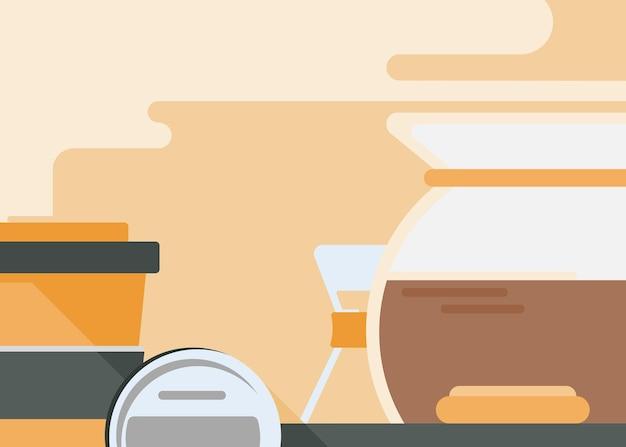 Illustration avec des ustensiles à café. art conceptuel du petit déjeuner.
