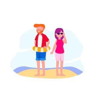 Illustration de vacances en couple à la plage