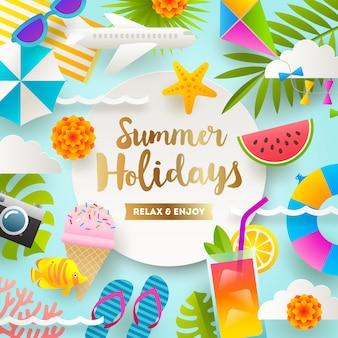 Illustration de vacances d'été avec des choses et des articles de vacances à la plage