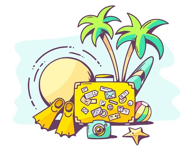 Illustration des vacances d'été sur fond bleu.