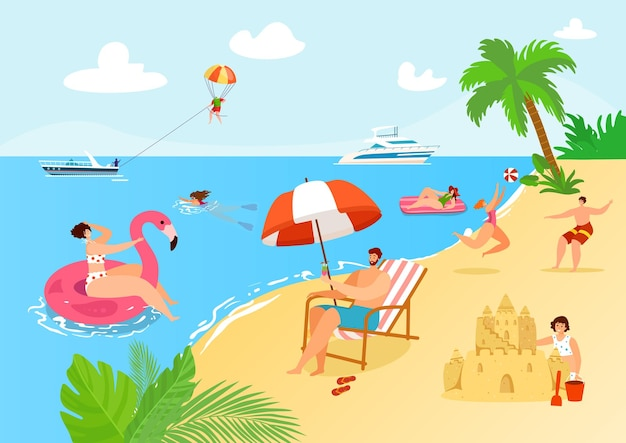 Illustration de vacances d'été à la plage