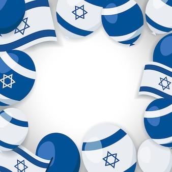 Illustration de vacances en israël. fond avec des ballons, des drapeaux