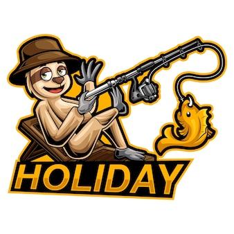 Illustration de vacances mascotte loris lent