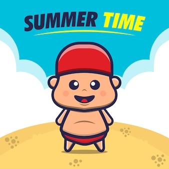 Illustration de vacances à la plage pour enfants heureux
