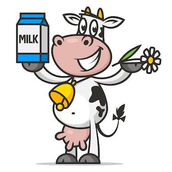 Illustration vache joyeuse détient fleur et lait d'emballage, format eps 10