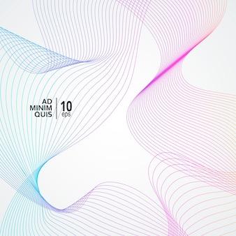 Illustration de vague colorée. élément de vague abstraite et fond d'art de ligne numérique