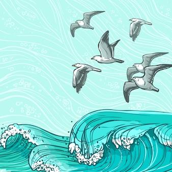 Illustration des vagues de la mer