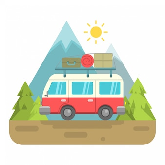 Illustration de van rétro avec fond de montagne