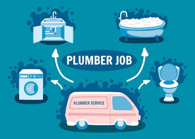 Illustration de van de voiture de service de plomberie