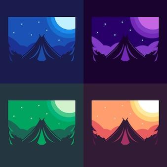 Illustration de la variation de couleur du logo de la montagne