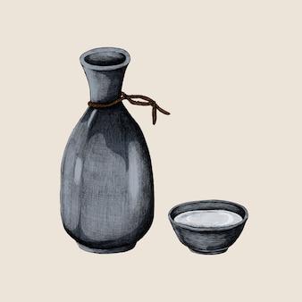 Illustration de vase à boire de l'alcool japonais