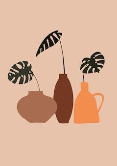 Illustration de vases avec des feuilles tropicales