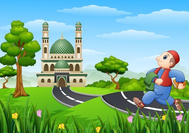 Illustration de vecteur de bande dessinée enfant musulman va à la mosquée