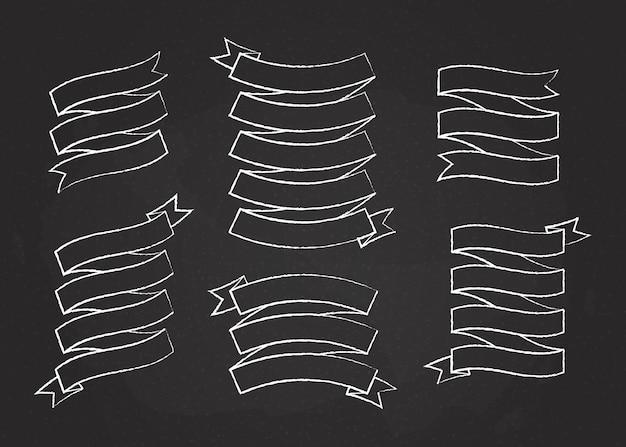 Illustration de vecteur de bannière de ruban de trait de craie. rubans de forme incurvée style craie blanche