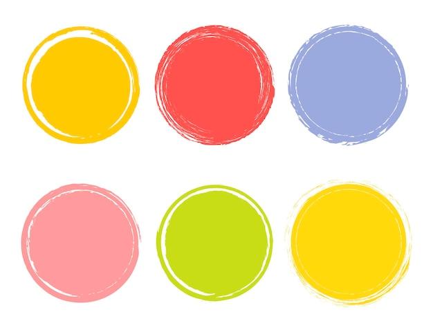 Illustration de vecteur créatif d'élément dessiné à la main aquarelle. fond de coup de pinceau de cercle. conception d'art de peinture. graphique de grunge de couleur concept abstrait. étiquette autocollante. tampon pour vos mots manuscrits.